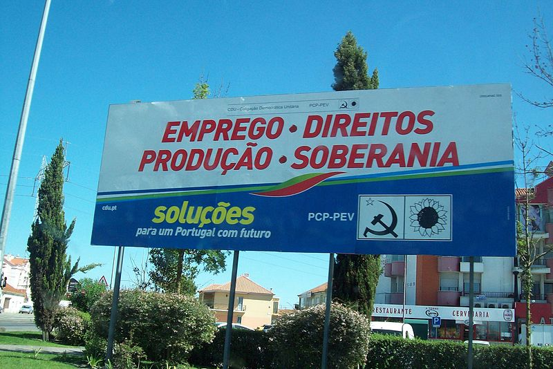 Europe elections campaign sign in Portugal